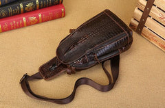 Cool Mens Leather Sling Bag One Shoulder Backpacks Sling Crossbody Backpack For Men