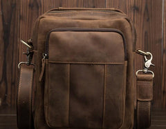 Cool Mens Leather Small Side Bag Small Messenger bag Shoulder bag For Men