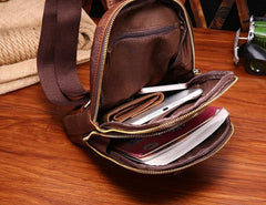Cool Mens Red Brown Leather Chest Bag Sling Bag Crossbody Sling Bag For Men