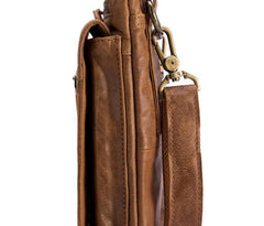 Cool Brown Leather Mens Small Shoulder Bag Belt Pouch Waist Belt Bag For Men