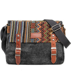 Cool Retro Waxed Canvas Leather Mens Womens Ethnic Shoulder Bag 13'' Side Bag Messenger Bag Postman Bag For Men