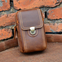 Cool Leather Men's Cell Phone Holster Belt Pouch Belt Bag Waist Bag For Men