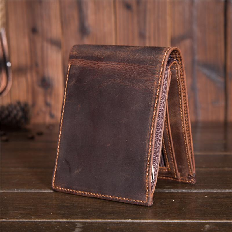 Cool Leather Mens Small Wallet Short Trifold Wallet Front Pocket Wallet for Men