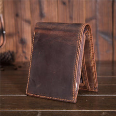 Cool Leather Mens Small Wallet billfold Trifold Wallet Front Pocket Wallet for Men