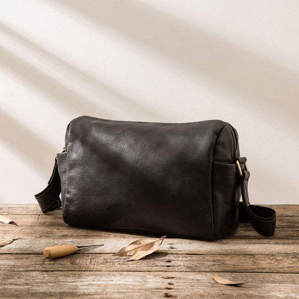 Cool Small Leather Black Mens Messenger Bags Shoulder Bags for Men a92ffc17b72f3