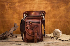 Cool Vintage Leather Mens Belt Pouch Waist Bag Drop Leg Bag Mini Shoulder Bag For Men