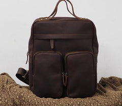 Cool Vintage Mens Leather School Backpack Satchel Backpack Leather Travel Backpack for Men