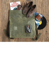 Cool Waxed Canvas Mens Green Military Courier Bag Postman Bag Backpack Large Side Bag For Men