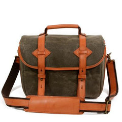 Cool Waxed Canvas Leather Mens Casual Messenger Bag DSLR Camera Bag Side Bag For Men