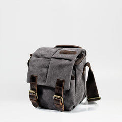 Cool Waxed Canvas Leather Mens Casual Waterproof Small Side Bag SLR Camera Bag Messenger Bag For Men