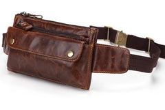 Cool and Retro Dark Brown and Brown LEATHER MENS FANNY PACK FOR MEN BUMBAG Vintage WAIST BAGS