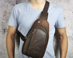 Cool Brown Mens Leather Chest Bags Sling Bag One Shoulder Backpack For Men