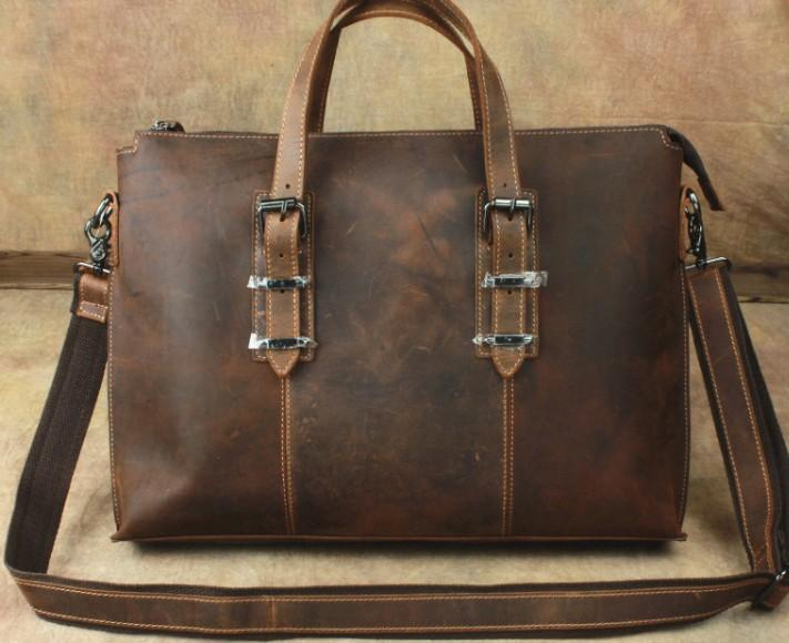 Cool Dark Brown Leather Men Vintage Briefcase 13inch laptop Shoulder Bag Work Bag For Men