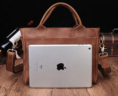 Cool Brown Leather Mens Vintage Small Briefcase Work Bag Shoulder Bag For Men