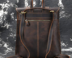 Cool Brown Leather Mens Backpack School Backpack Satchel Backpack for Men