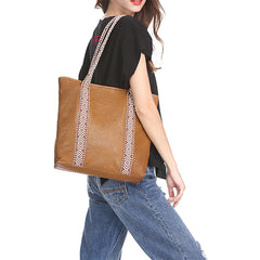 Country Style Black Leather Tote Bag Shopper Bag Brown Tote Purse For Women
