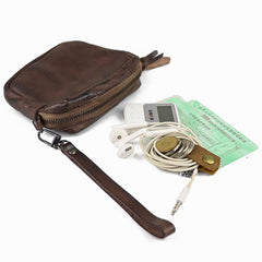 Vintage Leather Brown Men's Coin Wallet Black Wristlet Change Wallet Card Holder For Men