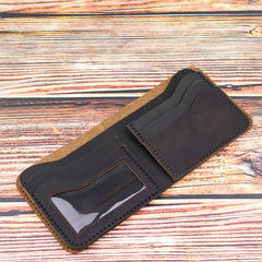 Vintage Dark Brown Leather Men's Small Wallet Bifold billfold Wallet For Men