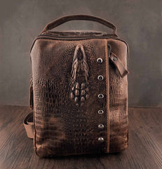 Badass Brown Leather Men's Sling Bag Chest Bag One shoulder Backpack Sling Bag For Men