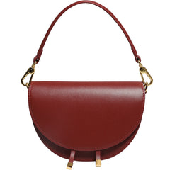Cute Womens White Leather Saddle Round Handbag Shoulder Bag Round Crossbody Purse for Women