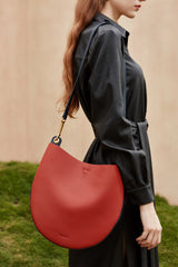 Cute Womens Black Leather Saddle Round Shoulder Bag Round Crossbody Purse for Women