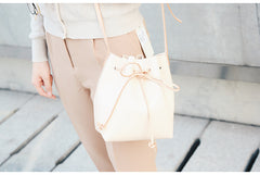 Cute LEATHER Beige Bucket Bag WOMENs SHOULDER BAG Purses FOR WOMEN
