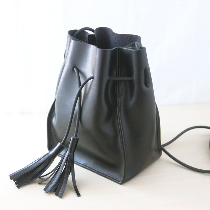 Cute LEATHER Black Bucket Bag WOMENs SHOULDER BAG Purses FOR WOMEN