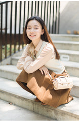 Cute LEATHER WOMENs Barrel SHOULDER Bag Crossbody BAG Purses FOR WOMEN
