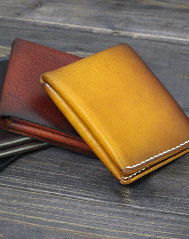 Handmade Men short leather wallet men vintage brown coffee wine wallet for him
