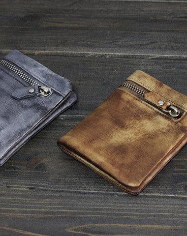 Handmade Men short leather wallet men vintage brown gray card wallet for him