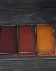 Handmade Men long leather wallets men vintage brown coffee Tan black wallet for him