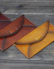Handmade Men women long leather wallet men vintage envelope tan brown wine wallet