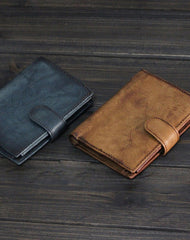 Handmade Men short leather wallet men vintage trifold brown gray wallet for him