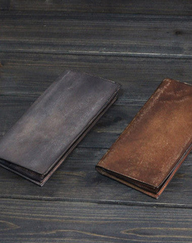 Handmade Mens long leather wallet men multi card vintage brown wallet for men