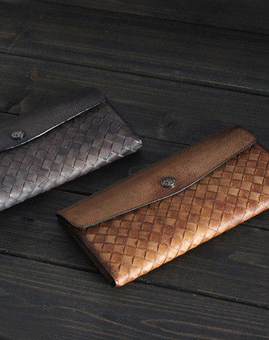 Handmade Men long leather wallet men multi card slots vintage brown gray wallet for him