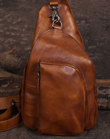 Genuine Leather Mens Chest Bag Bike Bag Cycling Bag Cool Messenger Bag iPad Bag for men