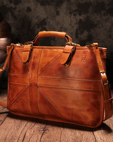 Vintage Brown Leather Mens Briefcase Work Bag Business Bag for men