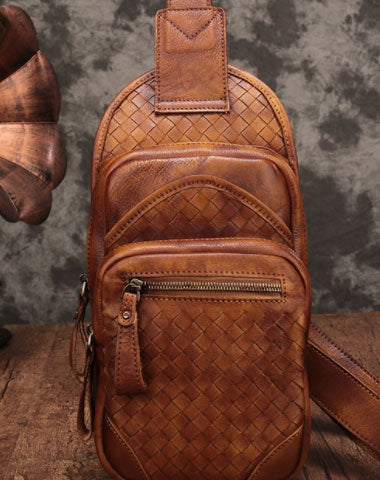 Genuine Leather Mens Chest Bag Woven Bike Bag Cycling Bag Cool Messenger Bag iPad Bag for men