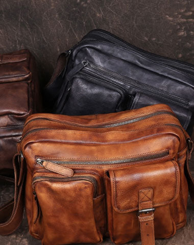 Cool Small Leather Mens Messenger Bag Brown Courier Bag Side Bag Postman Bag for men