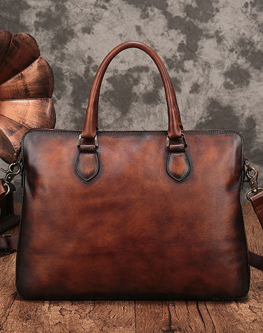 Vintage Leather Mens Brown Briefcase Work Bag Leather Business Bag  for men