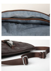 DISTRESSED BROWN LEATHER MEN'S Side BAG 10 inches MESSENGER BAG Leather Coffee Courier BAGs FOR MEN