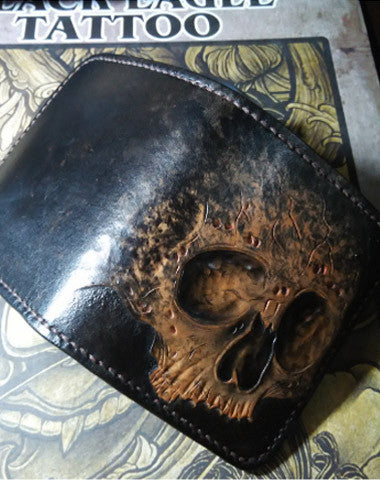 Handmade Skull Small leather wallet mens tooled Cool Short wallet for men