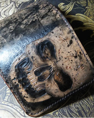Handmade short leather wallet men skull tooled carved short wallet for him