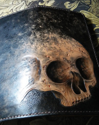 HANDMADE LONG LEATHER WALLET MEN SKULL TOOLED CARVED LONG WALLET FOR HIM