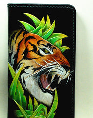 Handmade Long leather wallet men tiger black tooled carved long wallet for him