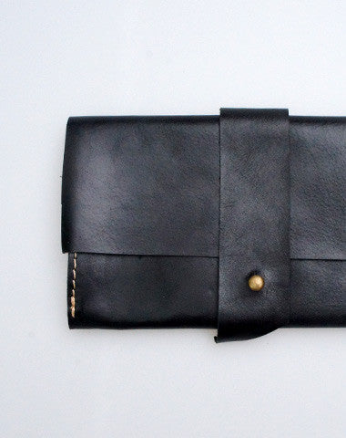 Handmade black vintage minimalist leather phone clutch long wallet for women/men