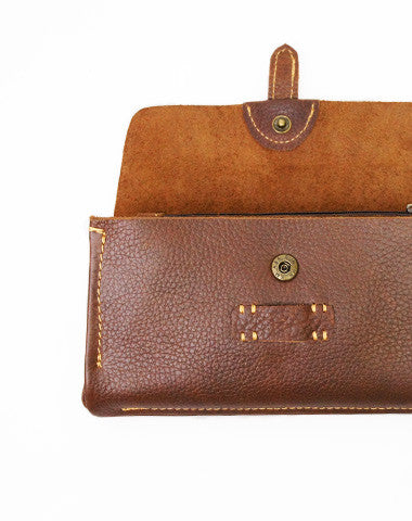 Handmade brown vintage minimalist leather phone clutch long zip wallet for men