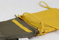 Handmade vintage leather yellow minimalist crossbody Shoulder Bag for girl women