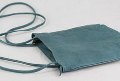 Handmade vintage leather blue minimalist crossbody Shoulder Bag for girl women
