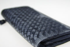Handmade vintage modern gray leather phone clutch long wallet for women/men
